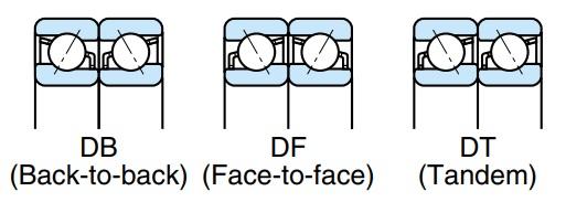 تصویر ترتیب قرار گرفتن بلبرینگ تماس زاویه ای یک ردیفه Nachi
